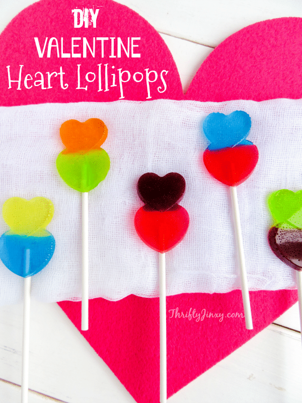 These DIY Valentine Heart Lollipops made with Jolly Rancher candies are super fun and easy to make!