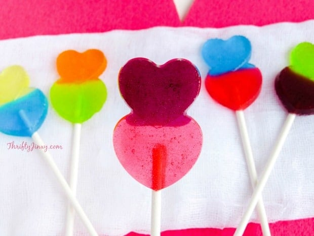 These DIY Valentine Heart Lollipops made with Jolly Rancher candies are super fun and easy to make