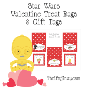 Printable Star Wars Valentine Treat Bags and Gift Tags