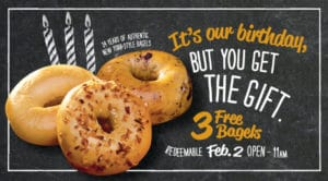 Bruegger's Bagels – Get 3 FREE Bagels in Celebration of Their Birthday! (February 1st)