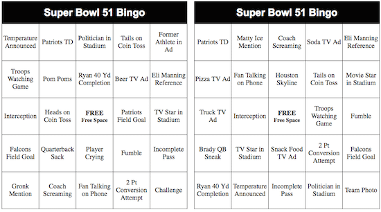 2017 super bowl bingo cards free printable thrifty jinxy