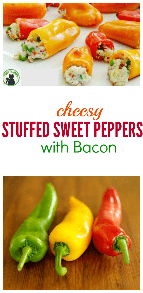 This Cheesy Stuffed Sweet Peppers with Bacon Recipe makes cute little guys perfect for a party appetizer, lunch, game day food or side to a big Italian meal!