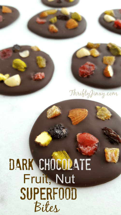 "This Dark Chocolate, Fruit, Nut Superfood Bites Recipe makes a delicious treat packed with ""good for you"" superfoods like dark chocolate, dried fruit & nuts."