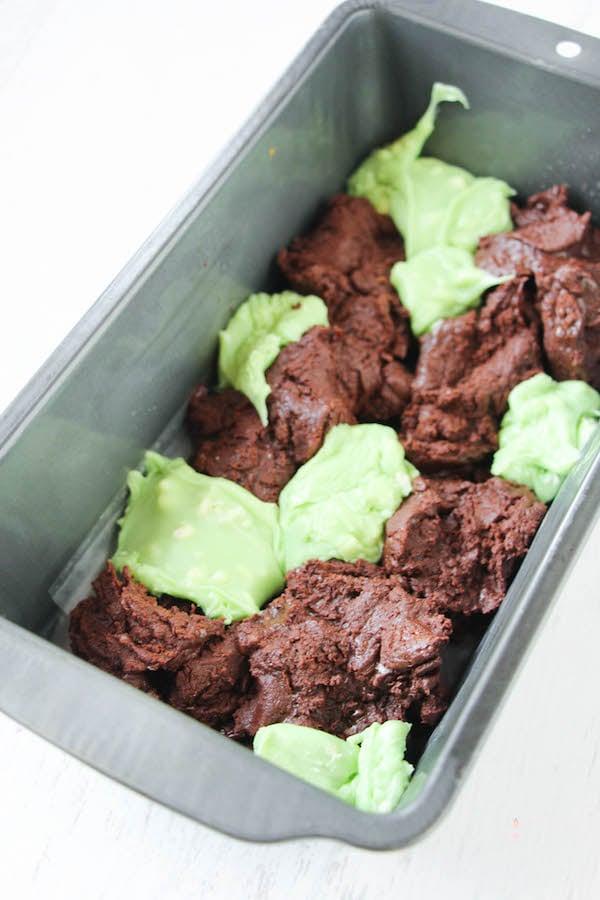 Preparing Chocolate mint fudge marbled in loaf pan