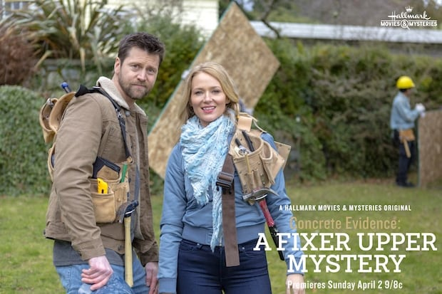 tune in to hallmark movies mysteries concrete evidence a fixer upper mystery this sunday. Black Bedroom Furniture Sets. Home Design Ideas