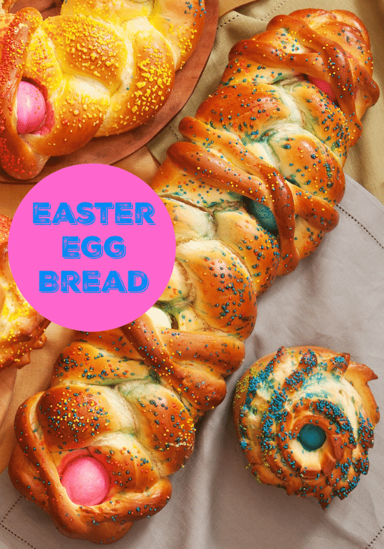 Not only does this beautiful Colored Easter Egg Bread Recipe add a holiday flair to an Easter meal, it tastes GOOD too! This recipe makes it easy enough to bake at home.