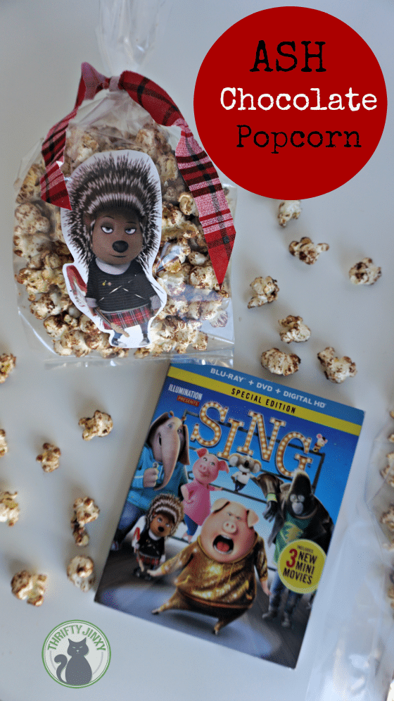 Plan a SING Family Movie Night with this yummy Ash Chocolate Popcorn Recipe!