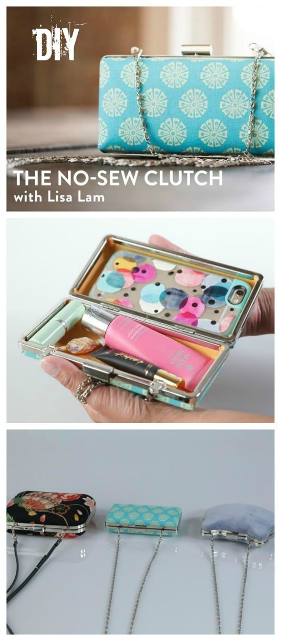 DIY no-sew clutch tutorial. Learn how to make your own minaudière, perfect for gift-giving or for your own night out on the town. Mom would love it for Mother's Day!
