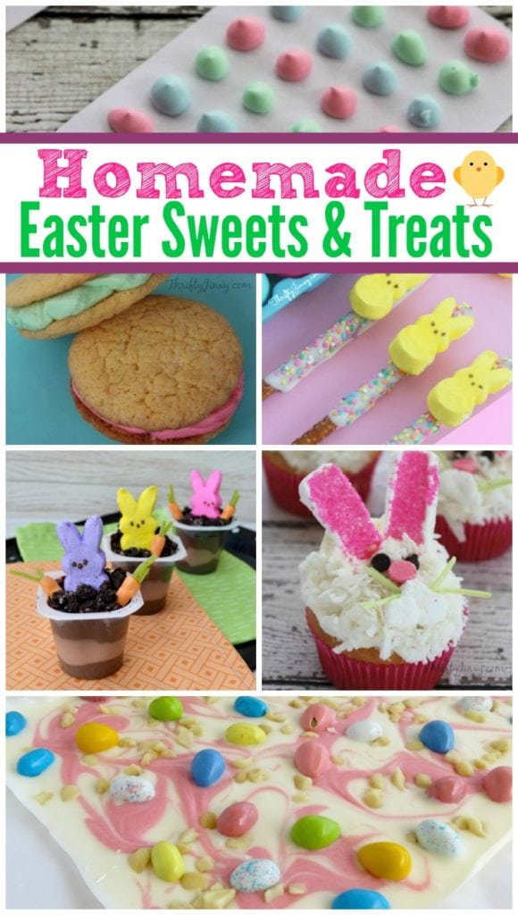 These Homemade Easter Sweets and Treats Recipes are perfect for filling Easter baskets or serving after Easter dinner. Recipes include homemade candy to fill Easter baskets, yummy desserts for after Easter dinner and more. They're all cute AND delicious!