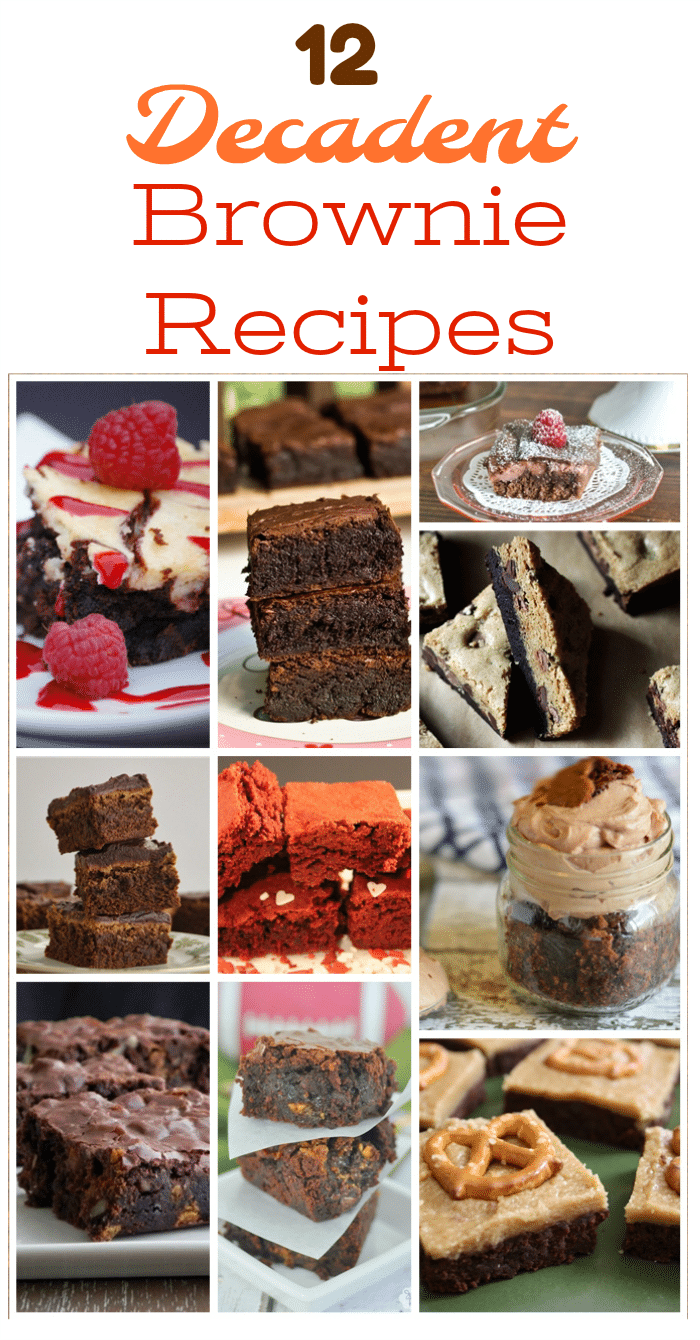 These 12 Decadent Brownie Recipes offer lots of twists on the classic chocolate brownie. They're perfect for parties, potlucks, bake sales or everyday snacking!