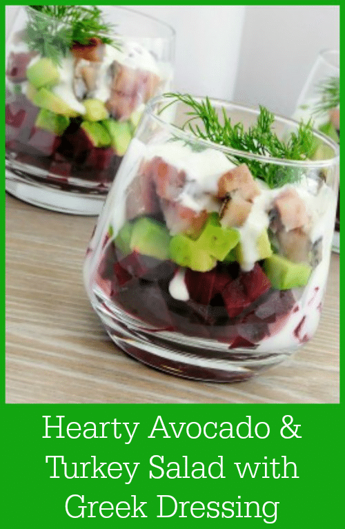 Salads are easy and anyone can make them. But, they can also be boring and leave you craving something more hearty. Not this salad! This Hearty Avocado & Turkey Salad with Greek Dressing Recipe skips the lettuce and gives you a protein-filled meal that will leave you feeling full and satisfied.