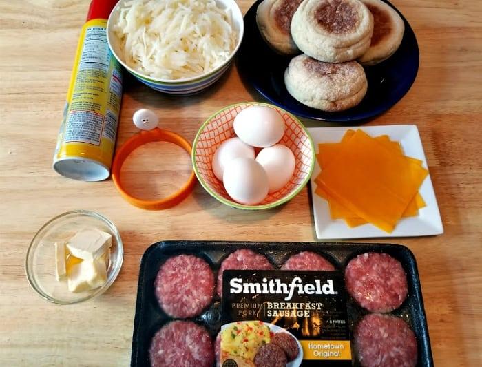 10 Minute Sausage Breakfast Stack ingredients