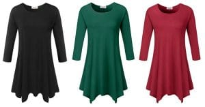 Amazon: 3/4-Sleeve Tunic Tops in Sizes S-3XL only $9.99-$15.99!