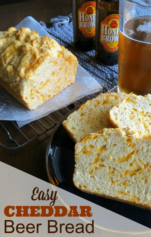 Making bread can sound hard, but this Cheddar Beer Bread Recipe is super easy to make and tastes SUPER GOOD!