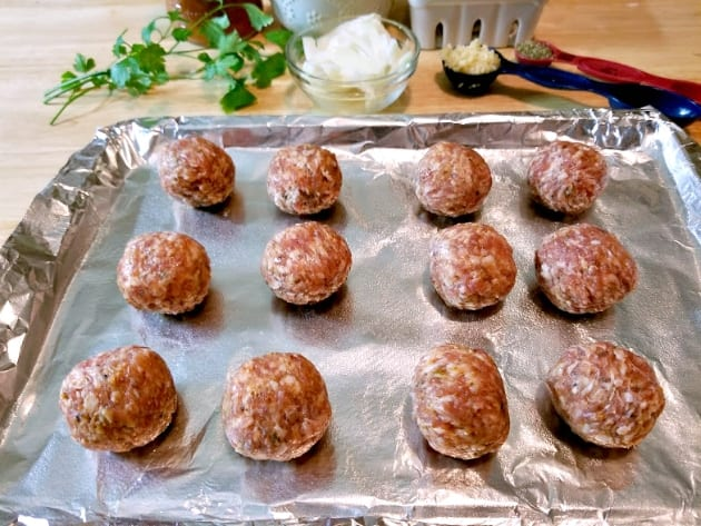 Italian Meatball And Biscuit Casserole Bake step 1