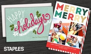 Custom Holiday Cards or Invitations from 23¢ Each at Staples – Get a Jump on the Holidays!