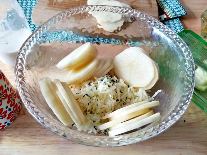 Cheesy Potato And Herb Gratin Stacks ingredients 4
