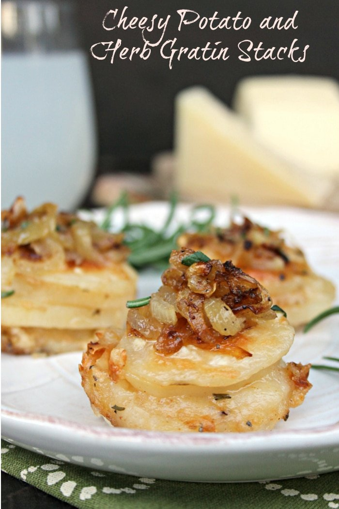 Cheesy Potato And Herb Gratin Stacks made with Pecorino Romano PDO and Asiago PDO Italian cheese. So good! #UncommonFlavors #ad #appetizer #cheese