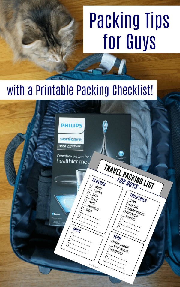 Check out these Packing Tips for Men – with a Handy Printable Packing Checklist!  #WorldsSmartestToothbrush #ad