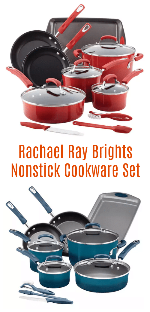 Add some color to your kitchen with a Rachael Ray 14-Piece Nonstick Cookware Set! Each set includes pots, pans, skillets, kitchen tools and a baking sheet so you can easily whip up all your favorite dishes. Silicone handles provide a secure grip, glass lids help you monitor the cooking progress and nonstick interiors offer effortless food release and make cleanup a breeze. #cooking #baking #RachaelRay #cookware