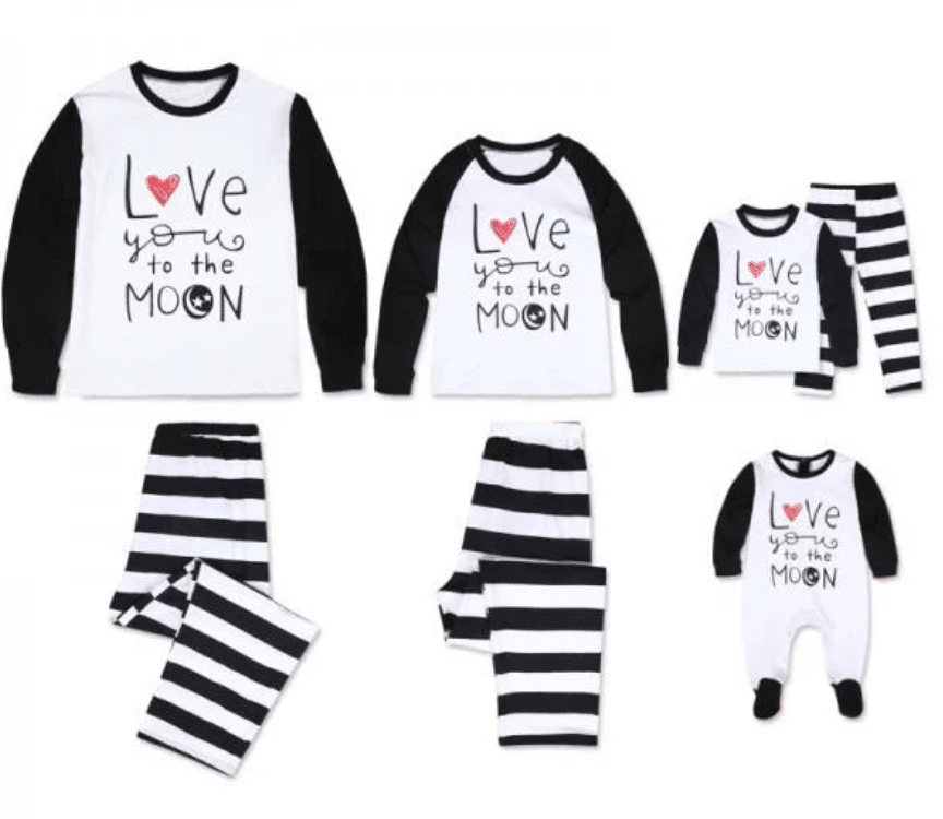 'I Love to the Moon' Long Sleeve Stripes Matching Family Pajamas Set
