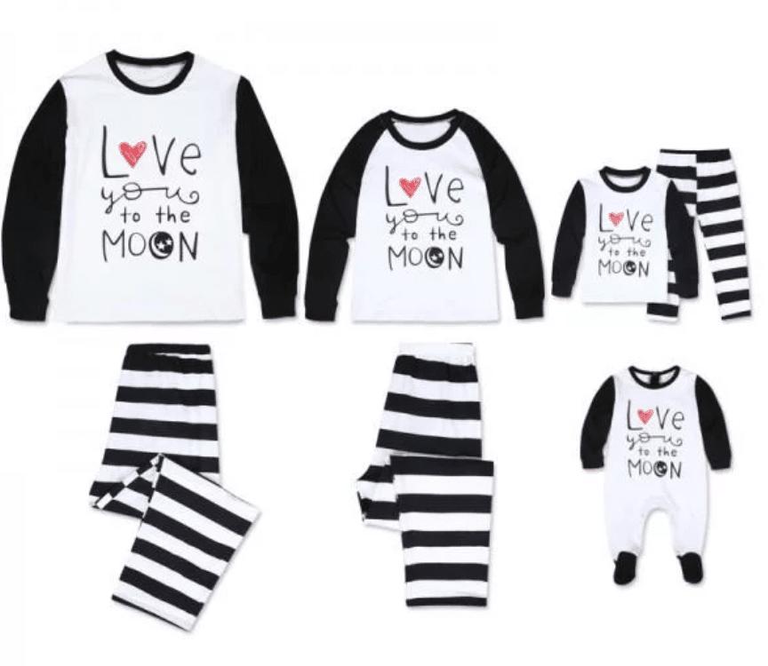 'I Love to the Moon' Long Sleeve Stripes Matching Family Pajamas Set