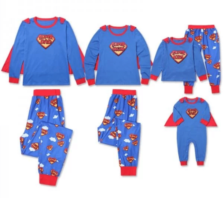 Super Family Matching Pajamas Set in Blue