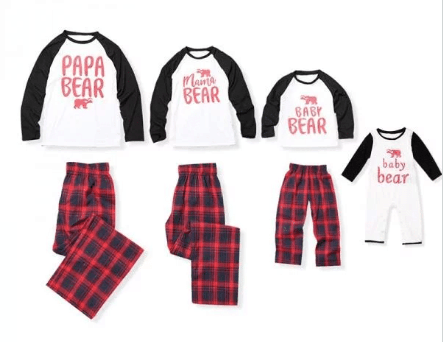 afbe48f3d6 Bear Print Family Matching Contrast T-shirt and Plaid Pants Set