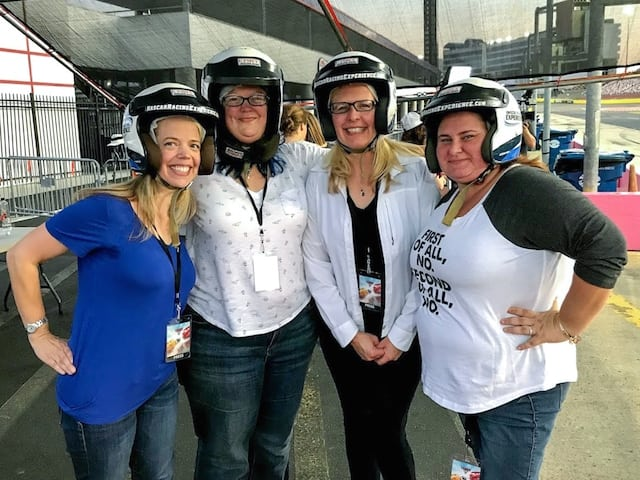 Bloggers in Race Helmets at Charlotte Motor Speedway