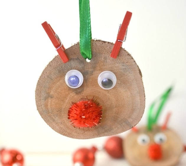Rudolph Wood Slice Ornament Is An Easy Kid Christmas Craft step five