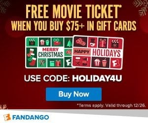 FREE Fandango Movie Ticket with Gift Card Purchase!
