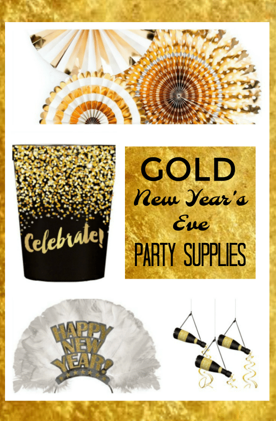 Gold New Years Eve Decorations - Celebrate they new year in style with these gorgeous gold party supplies! #NewYearsEve #PartySupplies #GoldDecorations