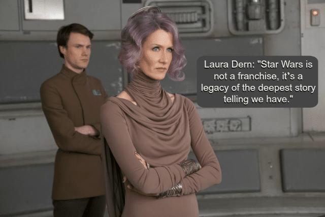 Laura Dern as Vice Admiral Amilyn Holdo in The Last Jedi