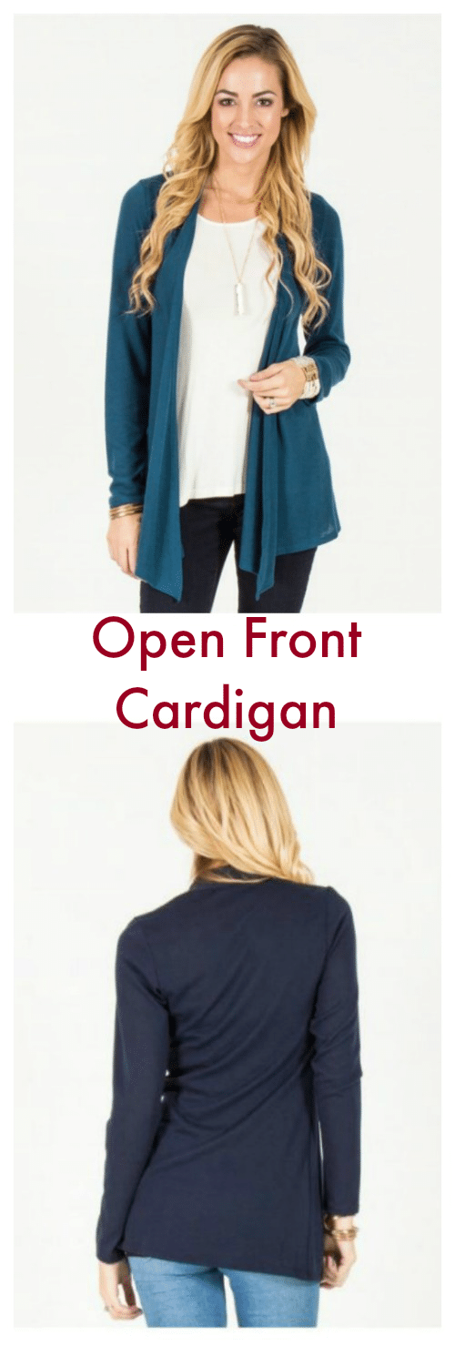 This Open Front Cardigan features a soft fabric blend with just the right amount of weight to be your new *favorite* cardigan. Plus, the tunic length provides more than enough back coverage.