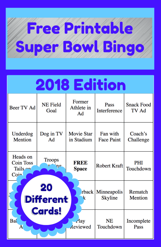 Add some fun to your Super Bowl Party or family gathering with these free printable 2018 Super Bowl Bingo Cards! There are 20 different cards featuring game plays, commercials and more!