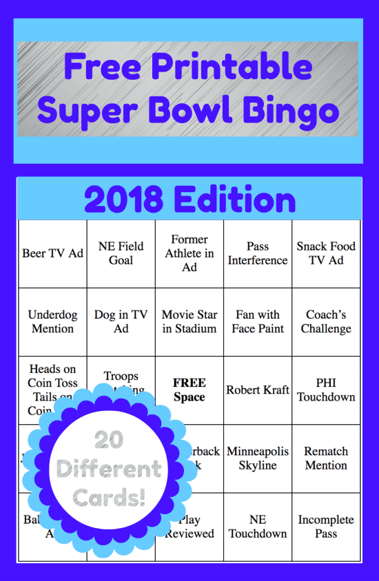 Impertinent image regarding printable super bowl bingo cards