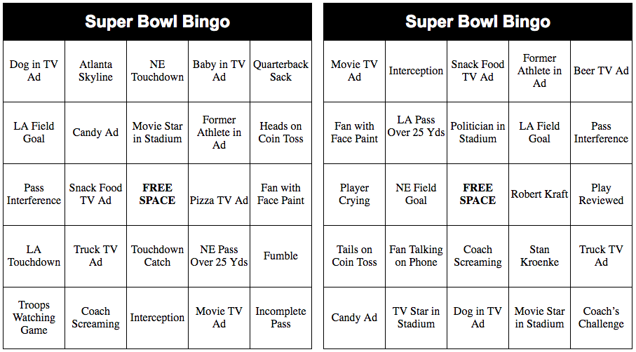 2018 Super Bowl Bingo Cards