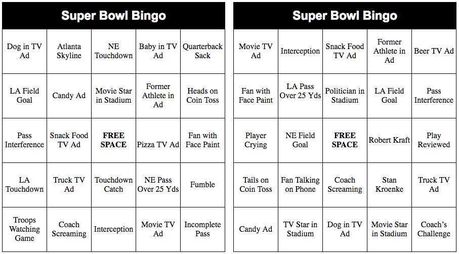 2018 Super Bowl Bingo Cards