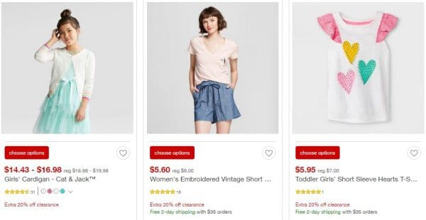 caade738765 Target.com  Extra 20% Off Clearance Apparel and Accessories ...