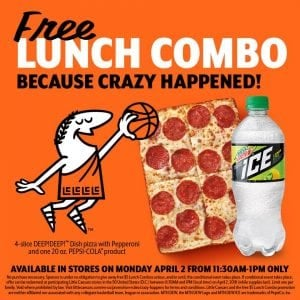Little Caesars: FREE Lunch Combo – Monday, April 2nd