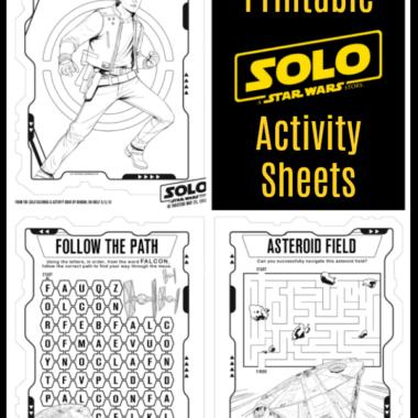 Printable SOLO Star Wars Activity Sheets