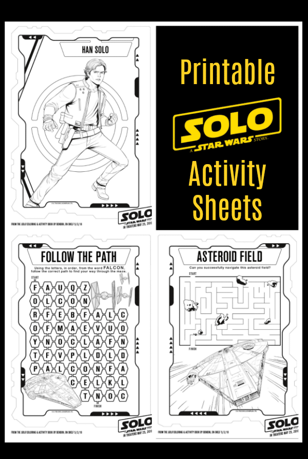 Printable SOLO Star Wars Activity Sheets