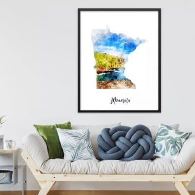 Minnesota Map Canvas Print
