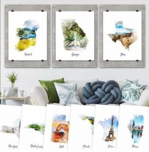 Watercolor Map Canvas Prints – Just $3.49!