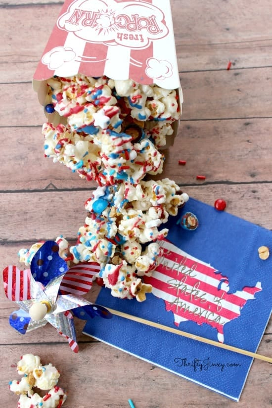 This yummy patriotic popcorn recipe is easy to make and perfect for the 4th of July or any patriotic celebration!