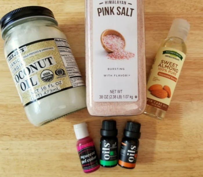 Homemade Pink Himalayan Salt Scrub Recipe supplies