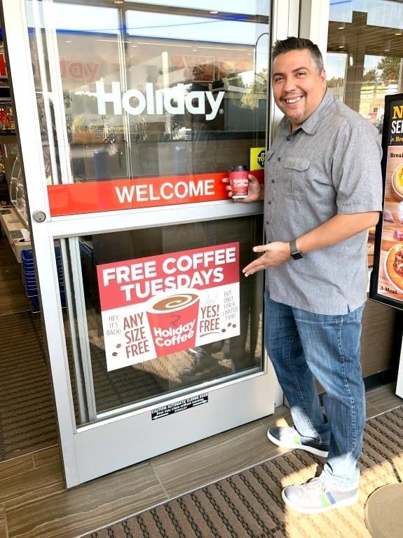 Holiday Free Coffee Tuesdays Door