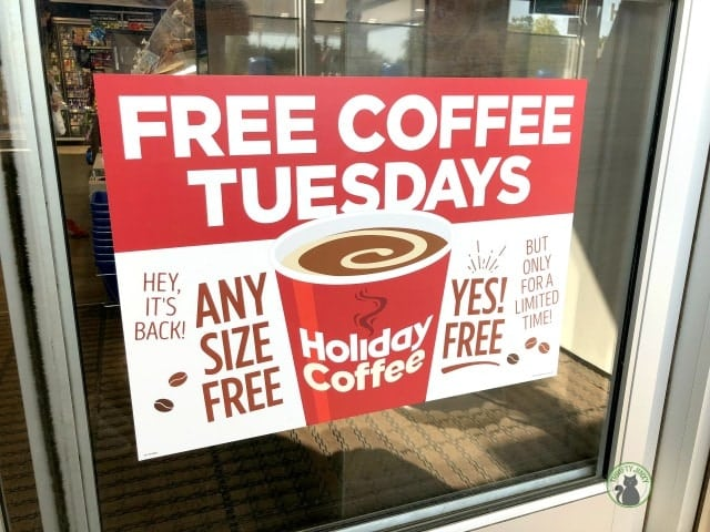 Holiday Free Coffee Tuesdays Sign