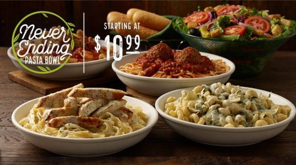 Olive Garden Never Ending Pasta Bowl Starts At Thrifty Jinxy