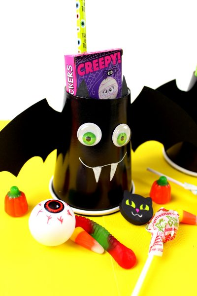Completed Bat Halloween Craft Treat Cups